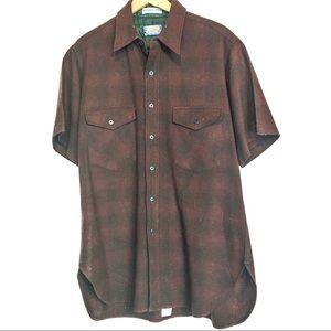 Pendleton sz L red black button shirt DEFECTS wool